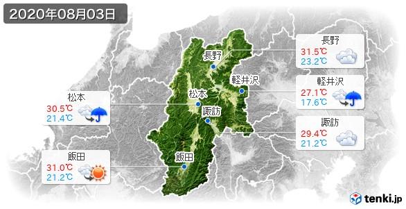 長野県(2020年08月03日の天気