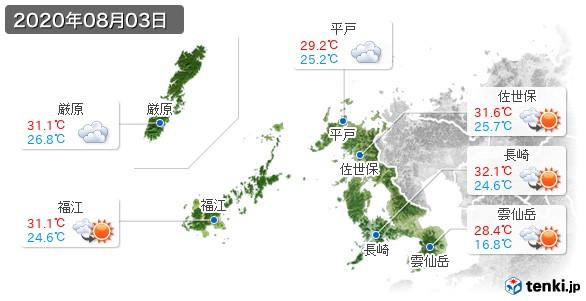 長崎県(2020年08月03日の天気