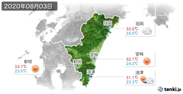 宮崎県(2020年08月03日の天気