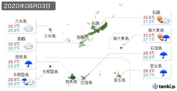 沖縄県(2020年08月03日の天気
