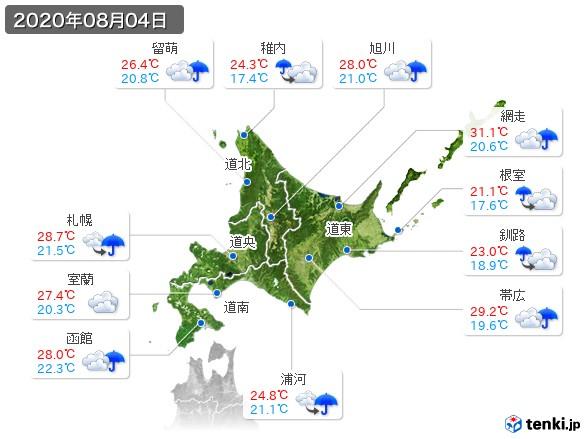 北海道地方(2020年08月04日の天気