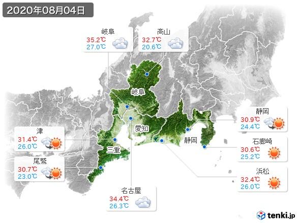 東海地方(2020年08月04日の天気