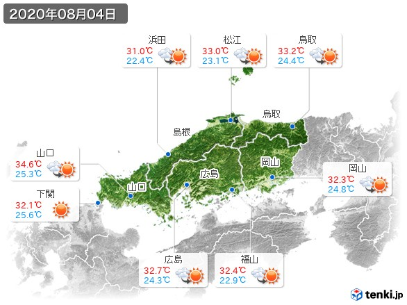 中国地方(2020年08月04日の天気