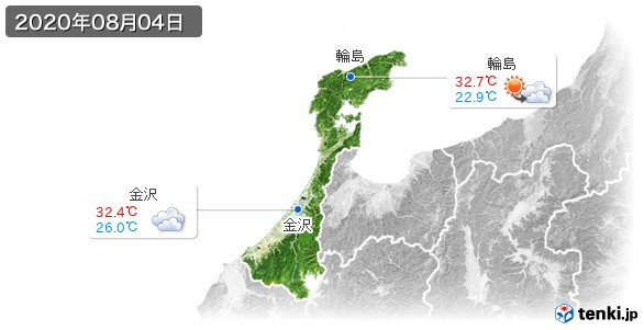 石川県(2020年08月04日の天気