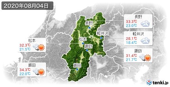 長野県(2020年08月04日の天気