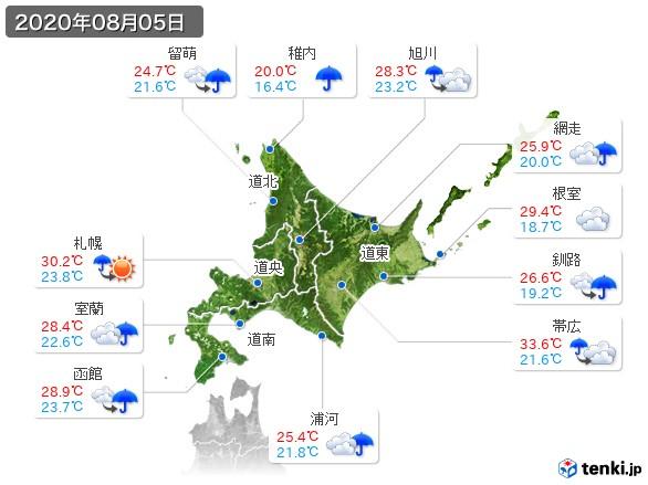 北海道地方(2020年08月05日の天気