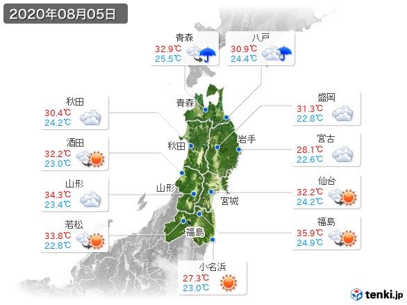 東北地方(2020年08月05日の天気
