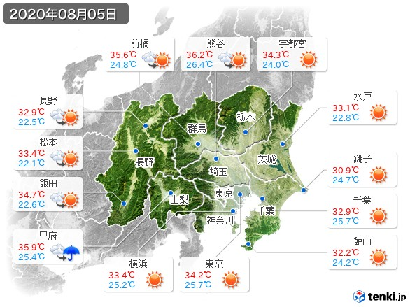 関東・甲信地方(2020年08月05日の天気