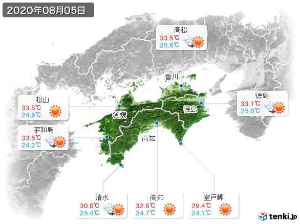 四国地方(2020年08月05日の天気