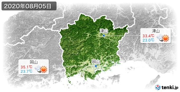 岡山県(2020年08月05日の天気
