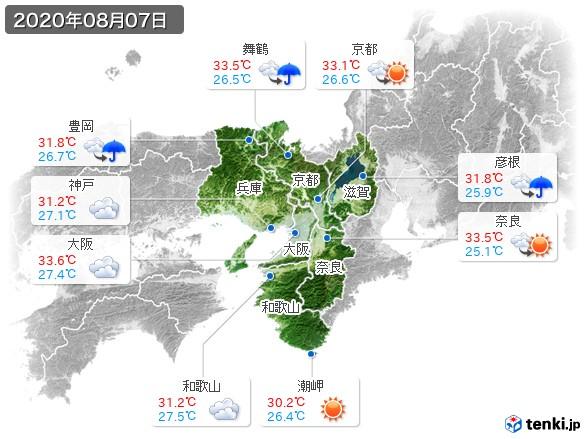近畿地方(2020年08月07日の天気