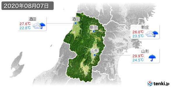 山形県(2020年08月07日の天気