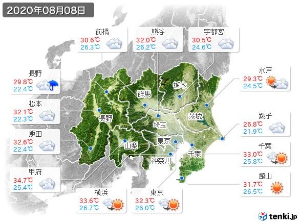 関東・甲信地方(2020年08月08日の天気
