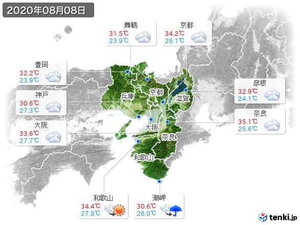 近畿地方(2020年08月08日の天気