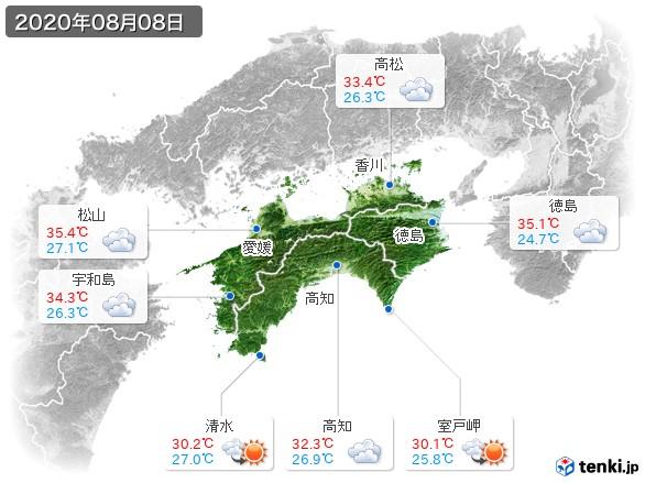 四国地方(2020年08月08日の天気