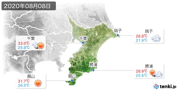千葉県(2020年08月08日の天気