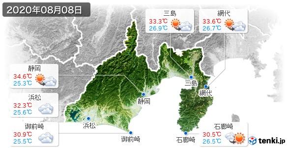 静岡県(2020年08月08日の天気
