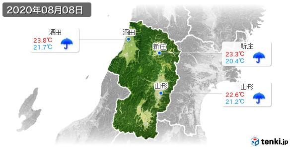 山形県(2020年08月08日の天気