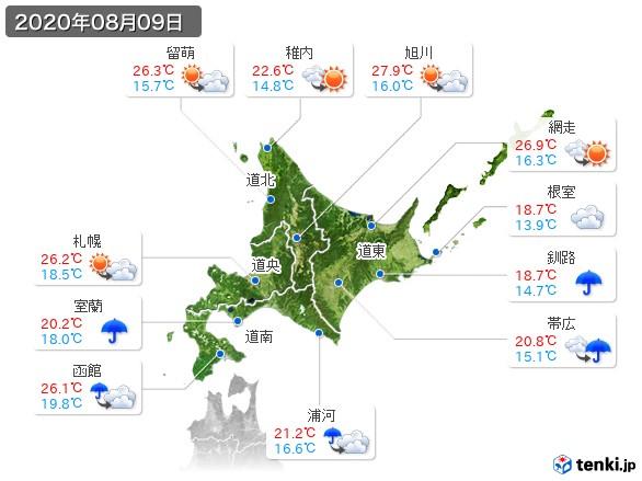 北海道地方(2020年08月09日の天気