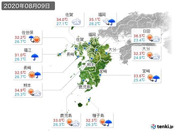 九州地方(2020年08月09日の天気
