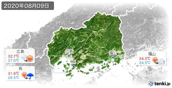 広島県(2020年08月09日の天気