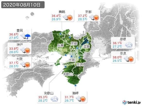 近畿地方(2020年08月10日の天気