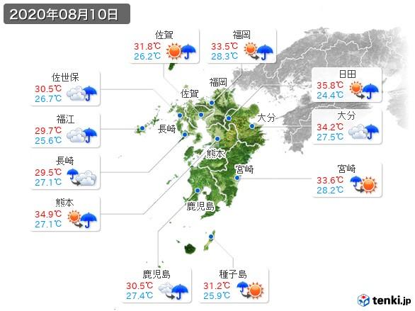 九州地方(2020年08月10日の天気