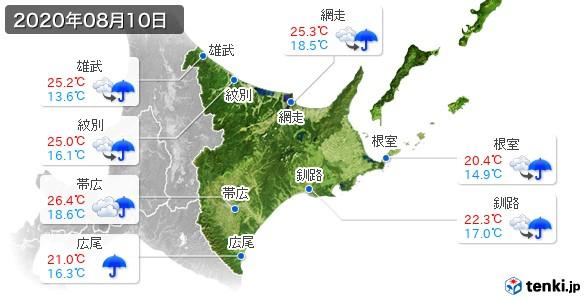 道東(2020年08月10日の天気