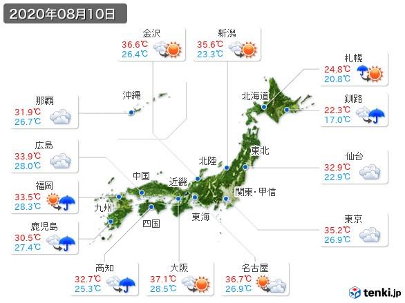 (2020年08月10日の天気