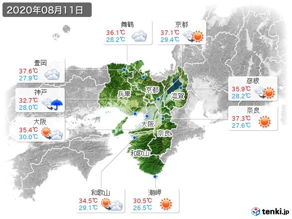 近畿地方(2020年08月11日の天気