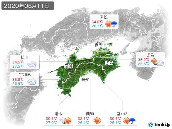 四国地方(2020年08月11日の天気