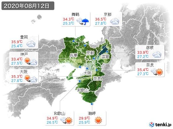 近畿地方(2020年08月12日の天気