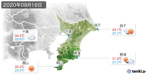 千葉県(2020年08月16日の天気