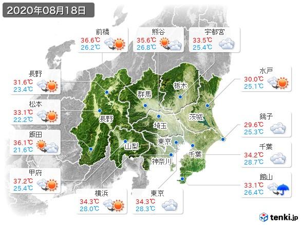 関東・甲信地方(2020年08月18日の天気