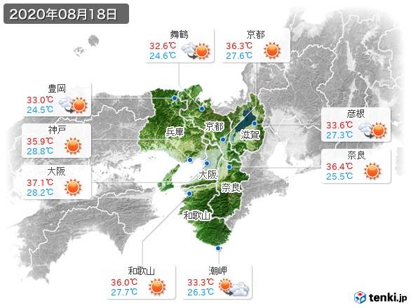 近畿地方(2020年08月18日の天気