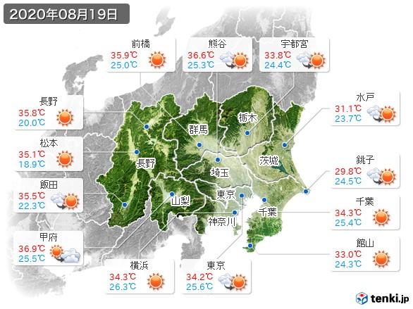 関東・甲信地方(2020年08月19日の天気
