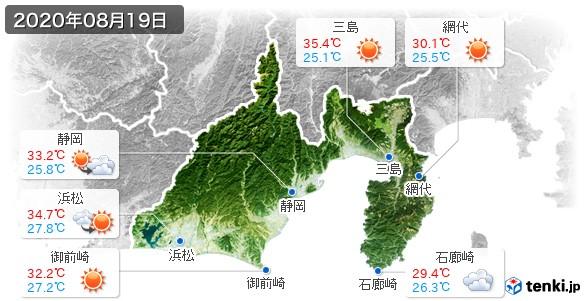 静岡県(2020年08月19日の天気