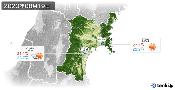 宮城県(2020年08月19日の天気