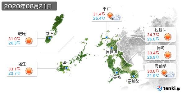 長崎県(2020年08月21日の天気
