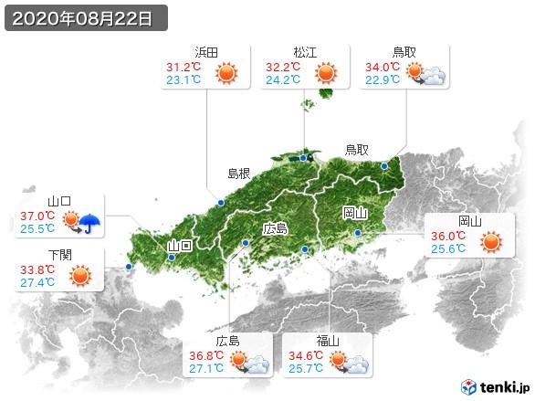 中国地方(2020年08月22日の天気