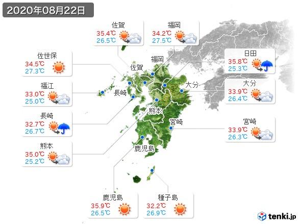 九州地方(2020年08月22日の天気