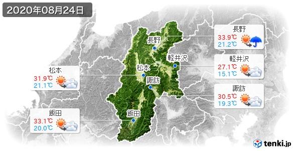 長野県(2020年08月24日の天気