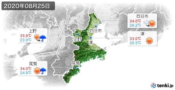 三重県(2020年08月25日の天気