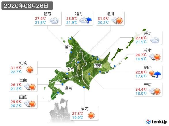 北海道地方(2020年08月26日の天気