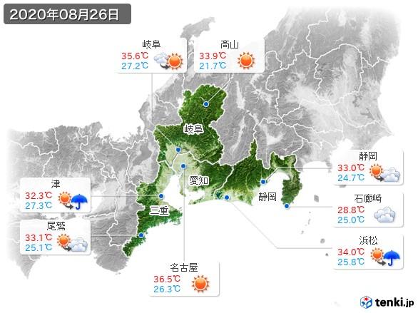 東海地方(2020年08月26日の天気