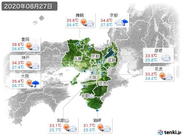 近畿地方(2020年08月27日の天気