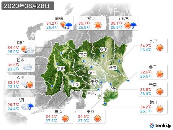 関東・甲信地方(2020年08月28日の天気