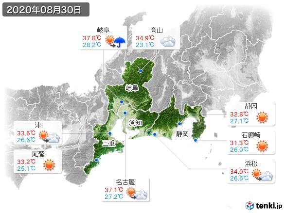 東海地方(2020年08月30日の天気