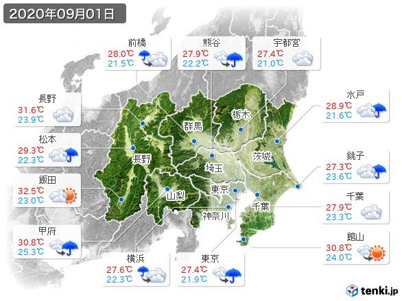 関東・甲信地方(2020年09月01日の天気