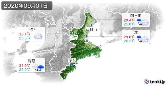 三重県(2020年09月01日の天気